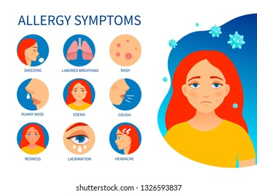 Medical Allergy Symptoms Cartoon Images, Stock Photos
