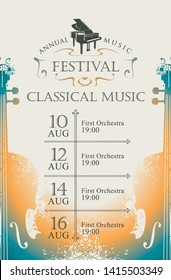 Vector poster for the annual festival of classical music with violins and grand piano on a light background in retro style