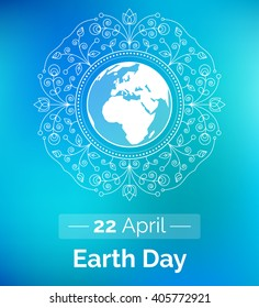 Vector poster for April 22, International Earth Day. Linear design element. Globe and floral ornament with blue backdrop as a concept for Earth Day. Elegant template for sticker, banner or card.