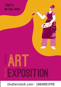 Vector poster of Art Exposition at City Museum concept. Artist holding color palette and paintbrush. Invitation design at exhibition of modern gallery. Character illustration of advertising banner