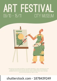 Vector poster of Art Festival at City Museum concept. Artist painting abstract picture. Invitation design at exhibition of modern gallery or museum. Character illustration of advertising banner