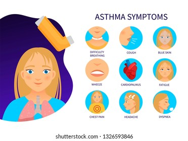 Vector poster asthma symptoms. Illustration of cartoon girl with asthma .