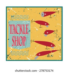vector poster with bait wobblers for fishing tackle shop on retro background