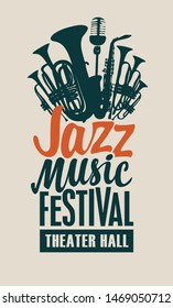 Vector poster or banner for a jazz music festival in retro style on light background with wind instruments, saxophone, microphone and inscriptions
