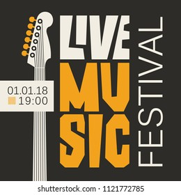 Vector poster or banner for live music festival with neck of acoustic guitar in retro style