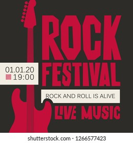 Vector poster or banner for Rock Festival of live music with a red electric guitar on the black background. Rock and roll is alive