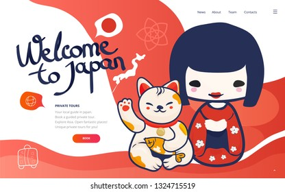 Vector poster or banner template for Vacation and travel to Japan. Holydays in Japan landing page wireframe or japanese tour banner with kokeshi doll and lucky cat. Private Tours by Local Guide promo.