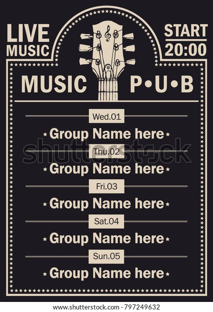 Vector Poster Beer Pub Live Music Stock Vector (Royalty Free