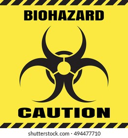 Vector poster of biohazard warning on the yellow background.
