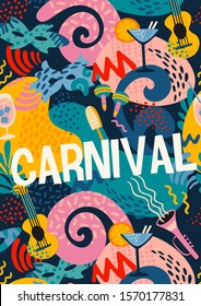 Vector poster with carnival objects and abstract shapes. Design element for carnival concept and other use.