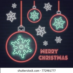 Vector poster with christmas balls and snowflakes in neon style