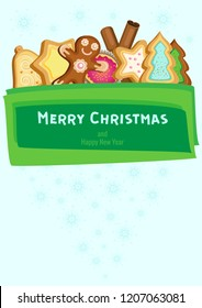 Vector poster for Christmas and New Year. Festive cookies and cinnamon sticks behind a green banner on a blue background with snowflakes