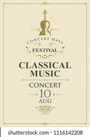 Vector poster for a concert of classical music in vintage style with violin