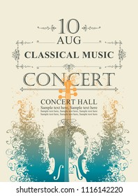 Vector poster for a concert of classical music with place for text on abstract background with violin