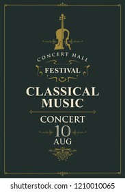 Vector poster for a concert of classical music in vintage style with violin on the black baclground