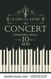 Vector poster for a concert of classical music with piano keys and treble clef in retro style on black background. White keys in the form of silhouettes of roofs of old houses
