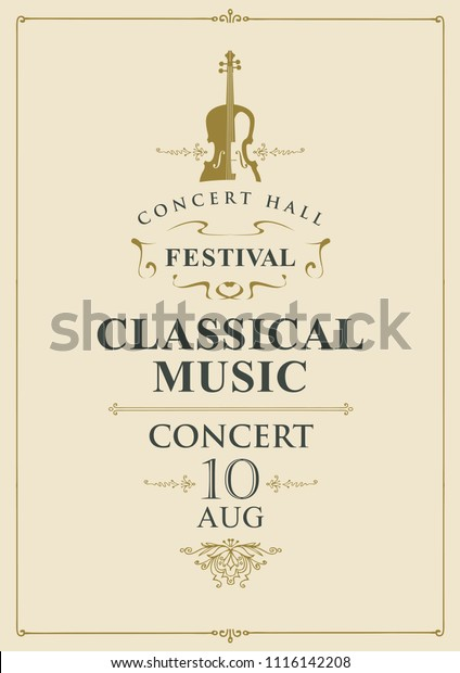 Vector Poster Concert Classical Music Vintage Stock Vector