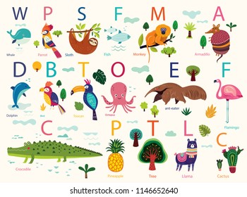 Vector poster with cute animals. Play cards for kids. Decorative funny animals in alphabet. Cartoon design for stickers, wall decals, cards and any nursery decor
