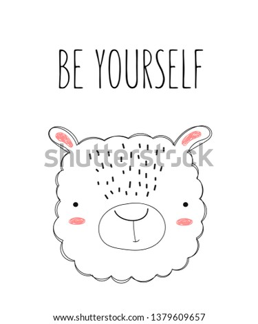 Vector Poster Cute Doodle Sheep Kids Stock Vector Royalty