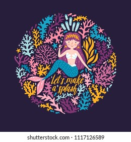 """Vector poster with cute mermaid, seaweeds and stars. Childish background with mermaid girl and hand written text """"Let's make a splash"""" on the dark background. Sea card with magical character."""