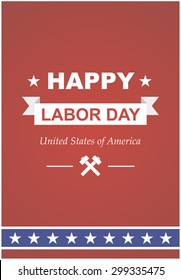 Vector poster for day workers in America. Poster printing with text and ribbon for the holiday.