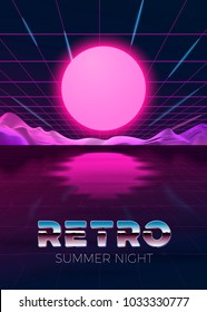 Vector poster design template in 80s retro futurism style, with futuristic digital sun over the river and mountains with reflection. Summer journey concept.