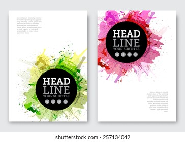 Vector poster design template. Business abstract background with paint blots, flyer, brochure, banner design. A4 size.
