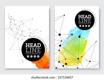 Vector poster design template. Business abstract background with triangles grid and watercolor stains. Flyer, brochure, banner, cover design. A4 size.
