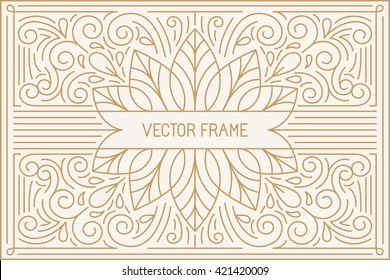 Vector poster design template and greeting card with copy space for text or title in trendy linear style - vintage background for cover, advertising, packaging - vector frame for logo