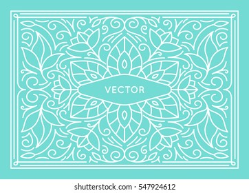 Vector poster design template, wedding invitation and greeting card with copy space for text or title in trendy linear style - vintage background for cover, advertising, packaging with flowers