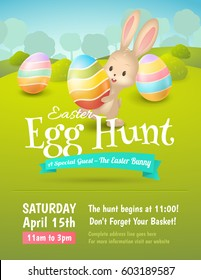 Vector poster for Easter Egg Hunt with colored eggs and cute bunny in field. Cartoon spring scene with trees and bushes. For holiday flyers and banners design.