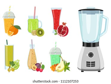 Vector poster with an electric blender, juices in glasses and jars fruits and berries on white background. Smoothies, mashed. Variety of good drinks.
