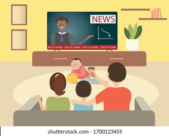 """Vector poster with family in flat style. Mom, dad, son and baby in the living room are watching TV, dad takes pictures of the baby. Motivating banner """"Stay home."""" A cozy evening with your family."""