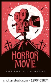 Vector poster for a festival of horror movie with an old film projector on a cemetery on a moonlit night. Scary cinema. Can be used for ad, banner, flyer, web design
