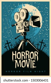Vector poster for a festival of horror movie with an old film projector on a cemetery on a moonlit night. Scary cinema. Suitable for poster, flyer, billboard, web design, ticket, advertising