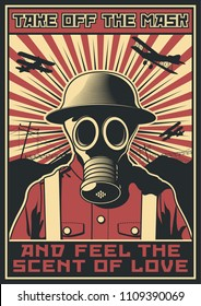 Vector Poster Gas Mask World War 1 Soldier War Propaganda Banner Obey Style