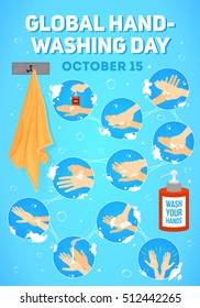 Vector poster for Global Handwashing Day, medical instructions with soap bottle and towel.