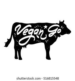 """Vector poster """"Go Vegan"""" with cow silhouette"""
