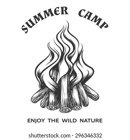 Vector poster with hand drawn campfire. Flame and burn, firewood and energy, fireplace and bonfire, vector illustration
