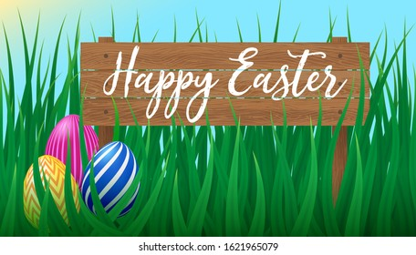 Vector poster Happy Easter on wooden signboard with realistic green grass meadow and colorful eggs. Cute Easter card design, template, print. Spring festive design with decorated eggs.