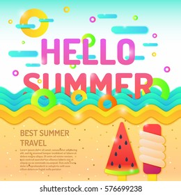 Vector poster Hello summer and seascape. For travel and leisure in the cartoon decorative style
