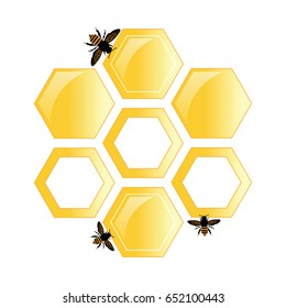 Vector poster. honeycomb and the bees