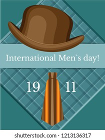 Vector poster for international men's day with a bowler hat and tie. Against the background of aqua and checkered square