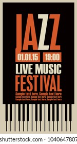 Vector poster for a jazz festival live music with piano keys and place for text in retro style on black background