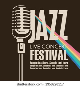 Vector poster for a jazz festival of live music with a microphone, rainbow rays and place for text in retro style on the black background
