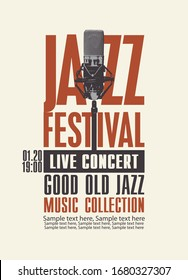 Vector poster for a jazz festival or live music concert with a microphone and a place for text in retro style. Good old jazz, music collection. Suitable for flyers, invitations, banners, advertising