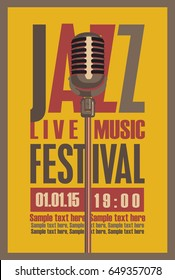 vector poster for a jazz festival live music with a microphone and place for text in retro style