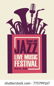 Vector poster for a jazz festival live music with saxophone, wind instruments and a microphone in retro style on white background