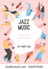 Vector poster of Jazz Music at City Night Club concept. Group of musicians performing at festival. Drummer, Saxophonist, trumpet and double bass player. Character illustration of advertising banner