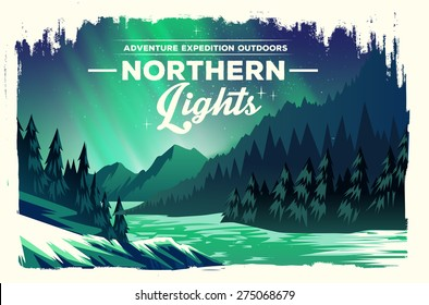 Vector poster landscape with green northern lights